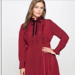 Eloquii burgundy shirt dress